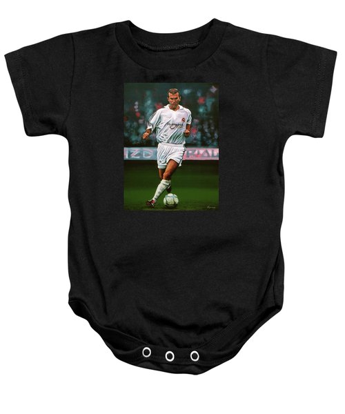 Zidane At Real Madrid Painting Baby Onesie by Paul Meijering