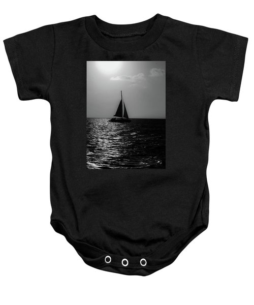 Sailing Into The Sunset Black And White Baby Onesie