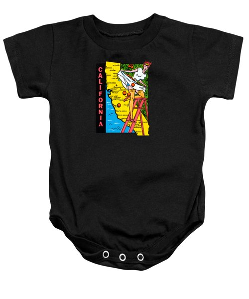 1950s California Map Luggage Label Baby Onesie