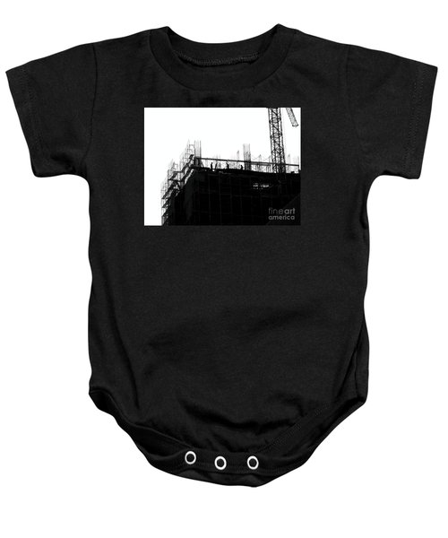 Large Scale Construction In Outline Baby Onesie