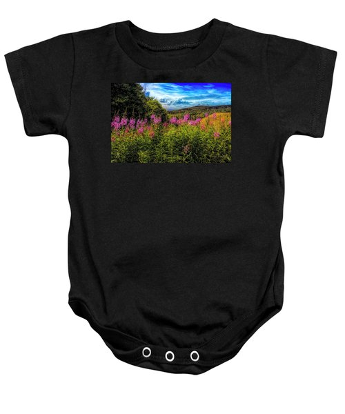 Art Photo Of Vermont Rolling Hills With Pink Flowers In The Fore Baby Onesie