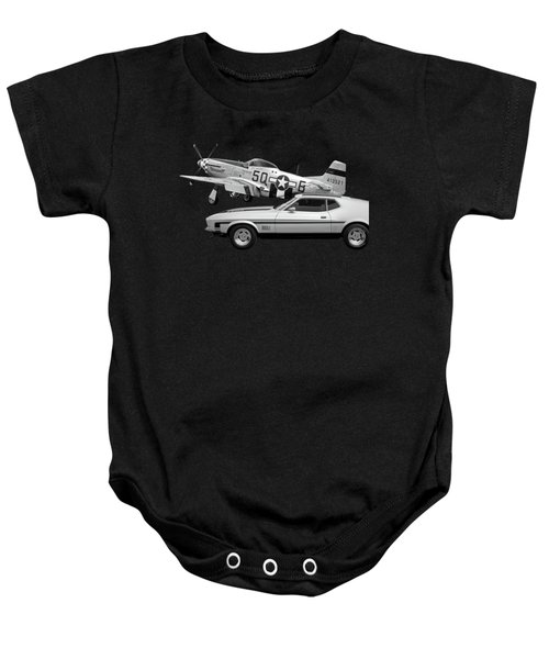 Mach 1 Mustang With P51 In Black And White Baby Onesie