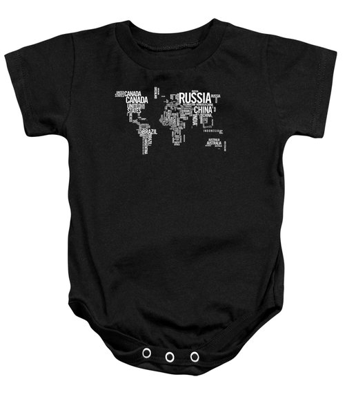 World Map Typo Baby Onesie