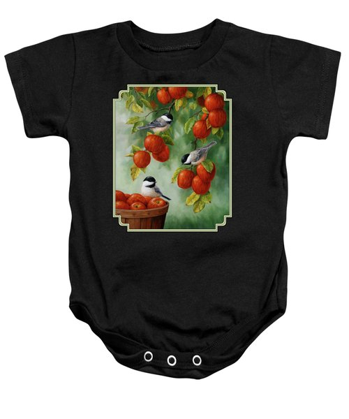 Bird Painting - Apple Harvest Chickadees Baby Onesie