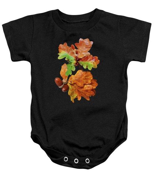 Autumn Oak Leaves And Acorns On Black Baby Onesie