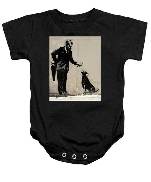 Banksy Paris Man With Bone And Dog Baby Onesie