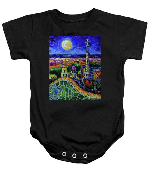 Barcelona Nightscape Modern Impressionist Stylized Cityscape Oil Painting Mona Edulesco Baby Onesie