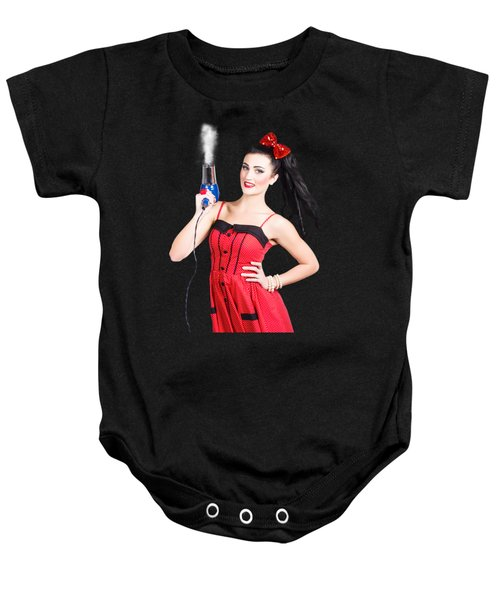Beauty Style Portrait Of A Elegant Hairdryer Woman Baby Onesie