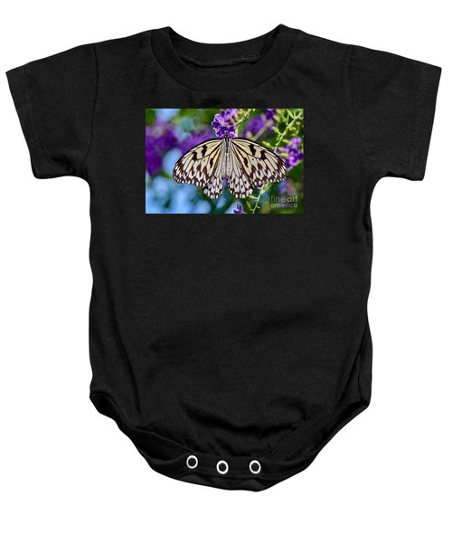 Black And White Paper Kite Butterfly Baby Onesie