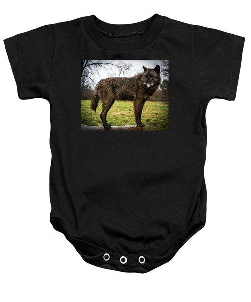 Black Wolf Baby Onesie