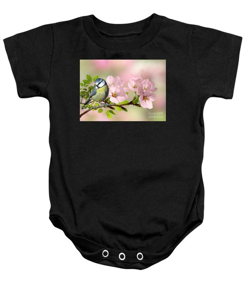 Baby Onesie featuring the pyrography Blue Tit On Apple Blossom by Morag Bates