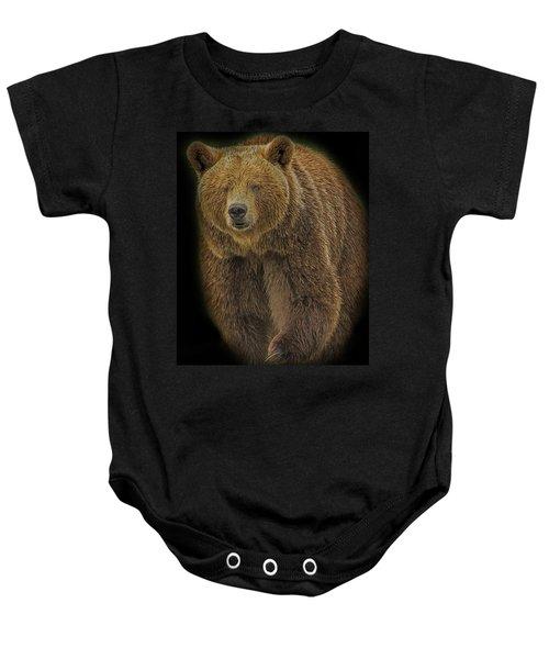 Brown Bear In Darkness Baby Onesie