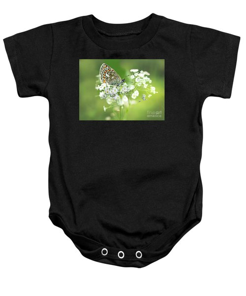 Baby Onesie featuring the mixed media Butterfly On Babybreath by Morag Bates