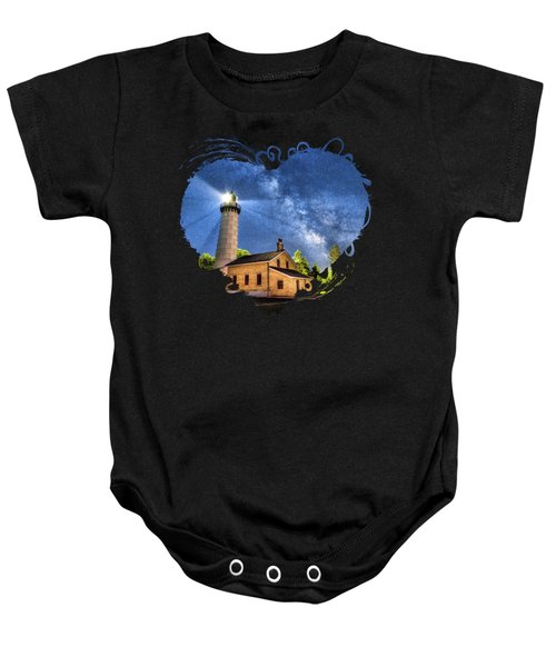 Cana Island Lighthouse Milky Way In Door County Wisconsin Baby Onesie