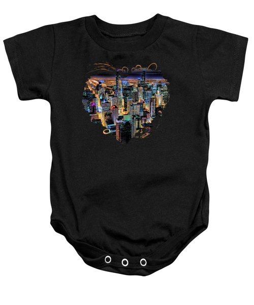 Chicago Skyline At Night Baby Onesie