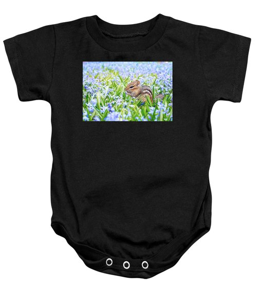 Chipmunk On Flowers Baby Onesie