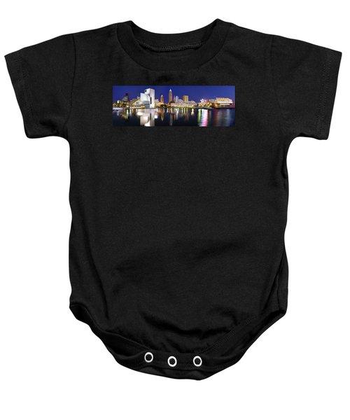 Cleveland Skyline At Dusk Rock Roll Hall Fame Baby Onesie