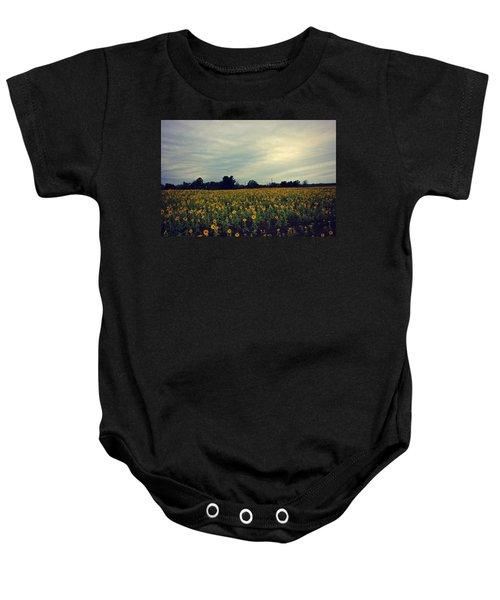 Cloudy Sunflowers Baby Onesie