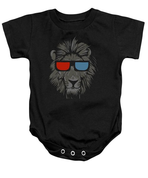 Cool Lion With Glasses Baby Onesie