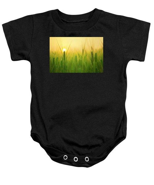 Dawn At The Wheat Field Baby Onesie