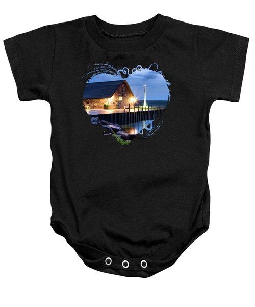 Door County Anderson Dock Twilight Baby Onesie
