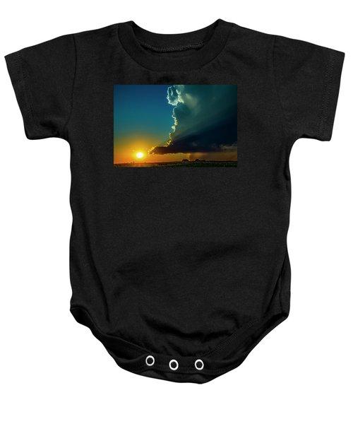 Dying Nebraska Thunderstorms At Sunset 068 Baby Onesie