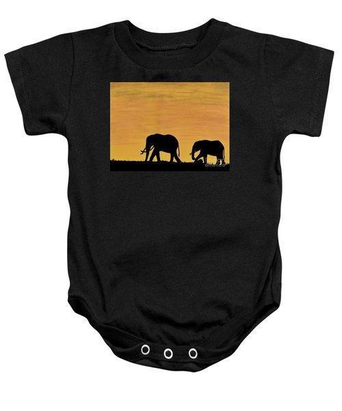 Elephants - At - Sunset Baby Onesie