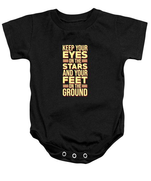 Eyes On The Stars - Motivational, Inspirational Quotes - Minimal Typography Poster Baby Onesie