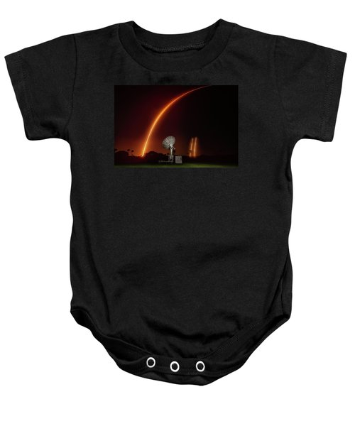 Falcon Heavy Night Launch And Landing Baby Onesie