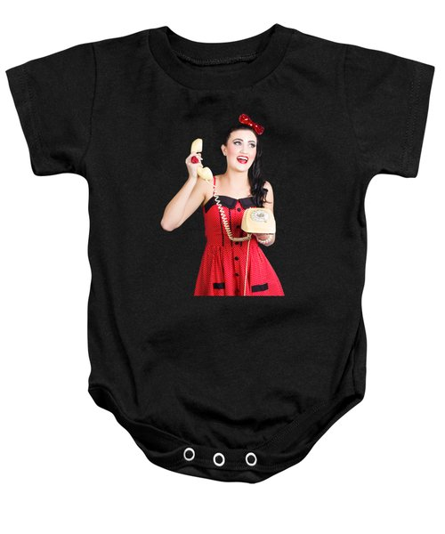 Funny Pin-up Woman Talking On Retro Phone Baby Onesie