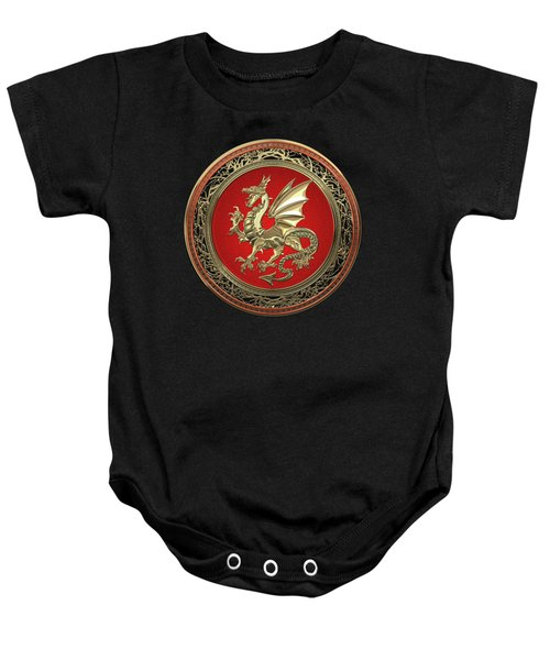 Gold Winged Norse Dragon - Icelandic Viking Landvaettir On Red And Gold Medallion Over Black Leather Baby Onesie