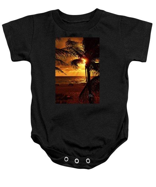 Golden Palm Sunrise Baby Onesie