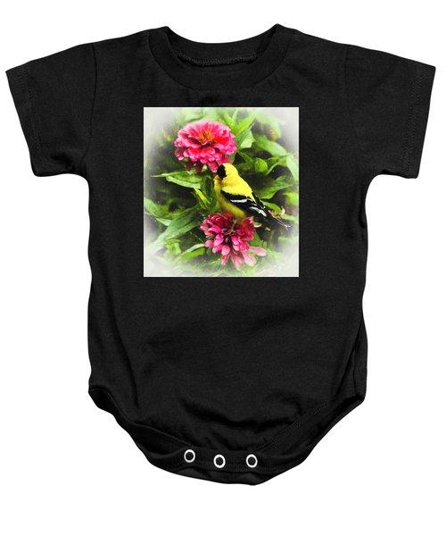 Goldfinches Love Zinnias Baby Onesie
