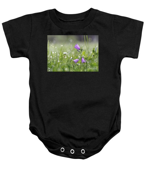 Baby Onesie featuring the pyrography Harebells And Water Drops by Morag Bates