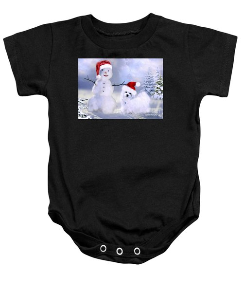 Hermes And Snowman Baby Onesie