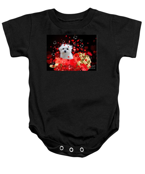 Baby Onesie featuring the mixed media Hermes The Valentine Boy by Morag Bates