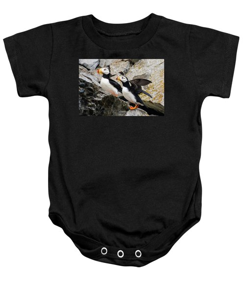 Horned Puffin Pair Baby Onesie