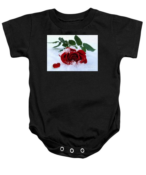 Baby Onesie featuring the pyrography I Give You My Heart by Morag Bates