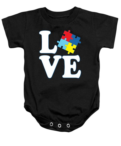 Baby Onesie featuring the digital art I Love Autism by Flippin Sweet Gear