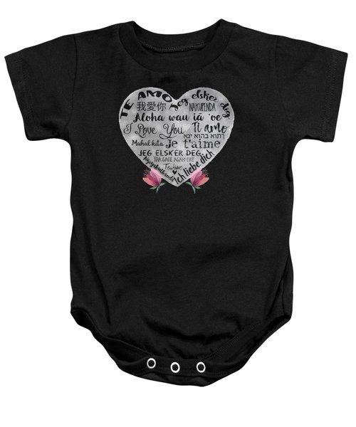 I Love You Chalkboard Heart, Flowers Baby Onesie