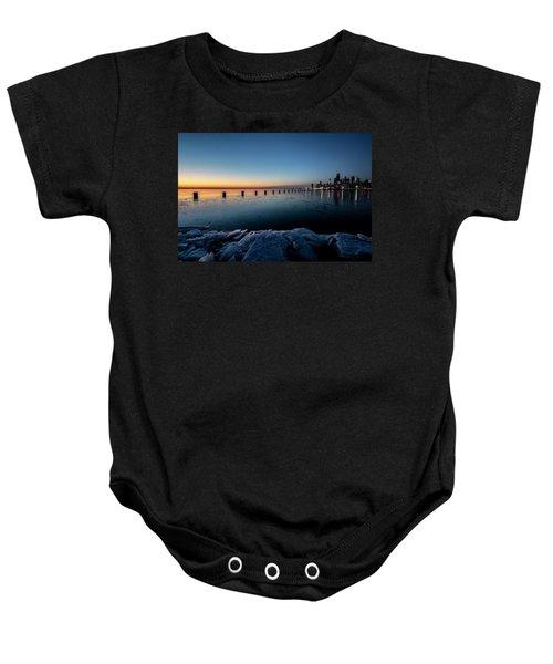 Icy Chicago Skyline At Dawn  Baby Onesie