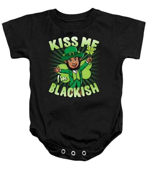 Kiss Me Im Blackish Black Leprechaun Baby Onesie