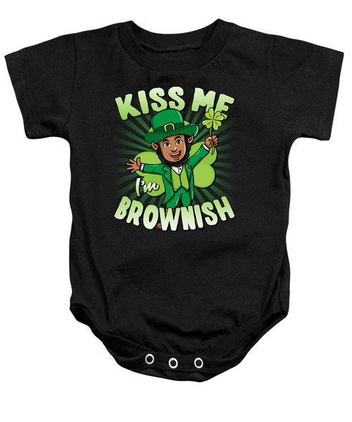Kiss Me Im Brownish Black Leprechaun St Patricks Day Baby Onesie