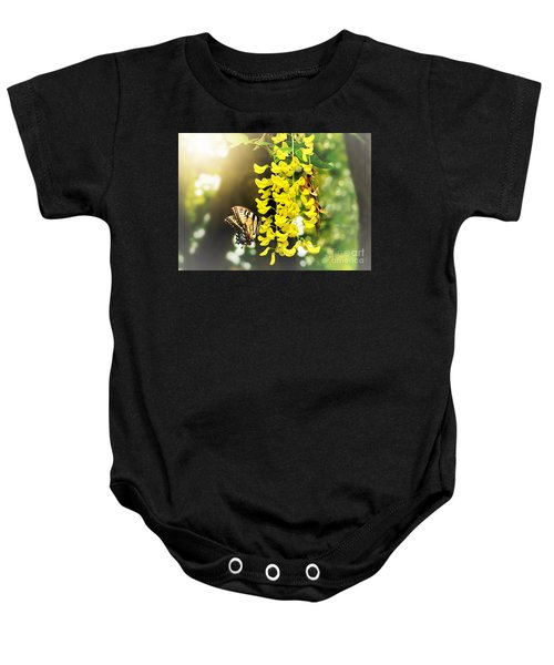 Baby Onesie featuring the pyrography Kissed By The Sun by Morag Bates