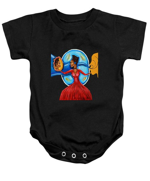 African Goddess Lady In Red Afrocentric Art Mother Earth Black Woman Art Baby Onesie