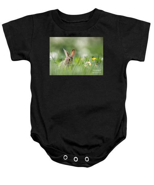 Baby Onesie featuring the mixed media Little Hare by Morag Bates