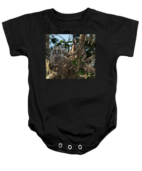 Long-eared Owl And Owlets Baby Onesie