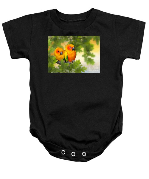 Baby Onesie featuring the mixed media Love Birds by Morag Bates
