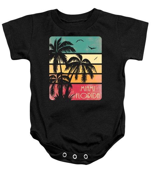 Miami Florida Vintage Summer Baby Onesie