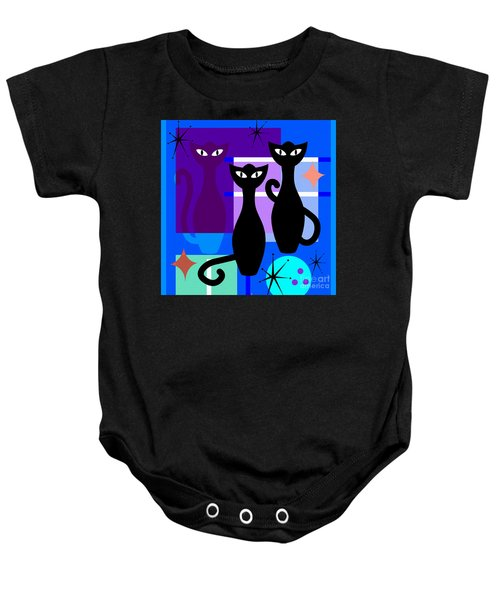 Mid Century Modern Abstract Mcm Bowling Alley Cats 20190113 Square M180 Baby Onesie